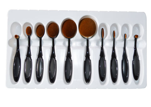 10Pcs Oval Shape Makeup Brush Set Virtual Glam Shop
