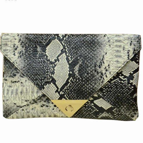 Image of Snake Skin Envelope Clutch Virtual Glam Shop
