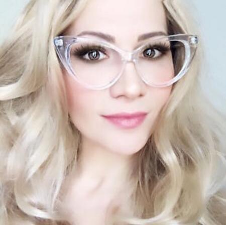 Image of Clear Frame Cat Eye Glasses