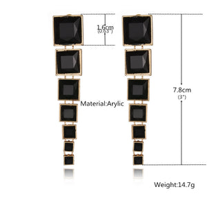 Black and Gold Square Drop Earrings