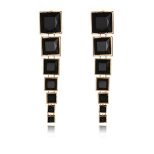 Black and Gold Square Drop Earrings Virtual Glam Shop