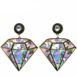 All Diamond Big Drop Earrings