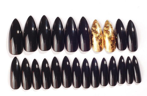 Image of Black and Gold Stiletto Nails