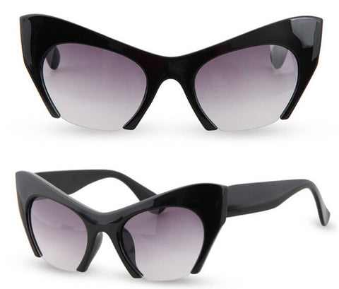 Retro Cat Eye Half Frame Sunglasses Black Virtual Glam Shop