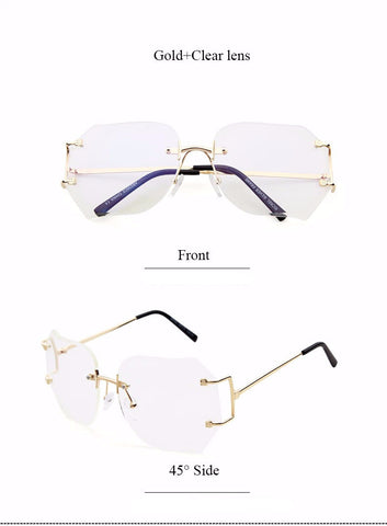Image of Rimless Clear Glam Fashion Specs Virtual Glam Shop