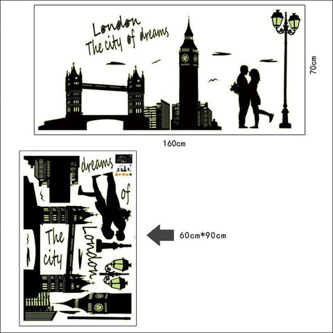 Image of Fluorescent London Lovers Wall Decal Virtual Glam Shop