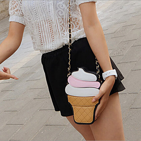 Sweet tooth Ice cream or Cupcake Clutch/Cross-body messenger bag balck ice cream Virtual Glam Shop
