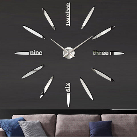 Vogue 3D Mirror Surface Wall Clock Sticker Virtual Glam Shop