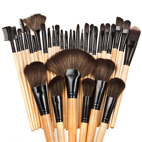 32Pcs Makeup Brush Set W/Travel Pouch Virtual Glam Shop