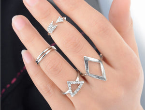 Gold and Silver Midi Ring Set