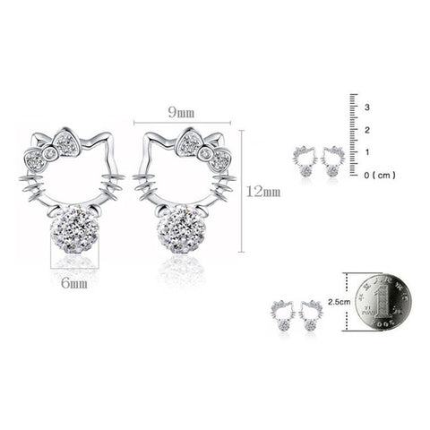 Image of Hello Kitty Stud Bling Earrings Virtual Glam Shop