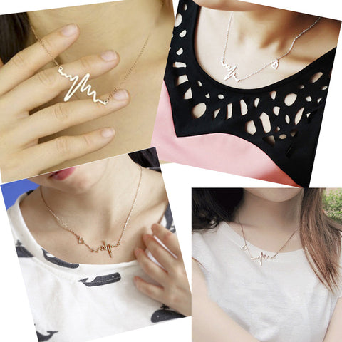 Image of Simple Wave Heartbeat Necklace Virtual Glam Shop