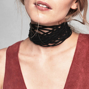 Black Geometric Crossed Choker Virtual Glam Shop