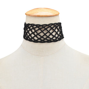 Black Geometric Crossed Choker