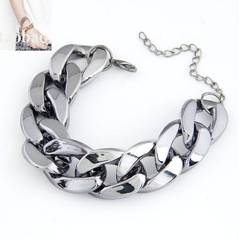 Chunky Chain Bracelet Black Virtual Glam Shop