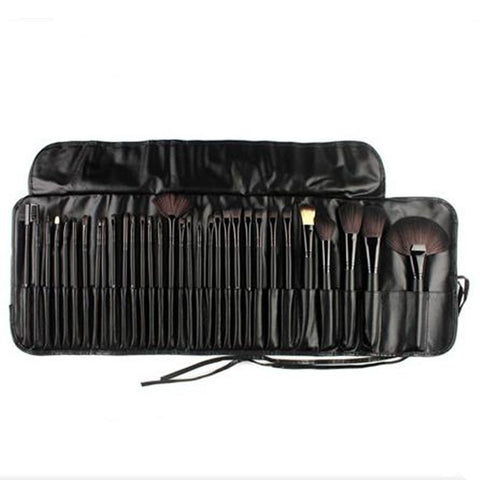 32Pcs Makeup Brush Set W/Travel Pouch Black Virtual Glam Shop