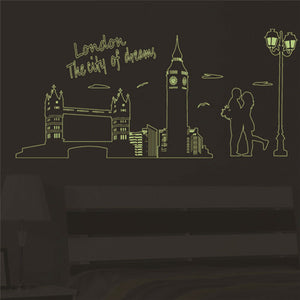 Fluorescent London Lovers Wall Decal