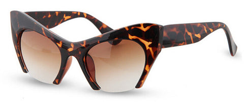 Retro Cat Eye Half Frame Sunglasses Cheetah Print Virtual Glam Shop
