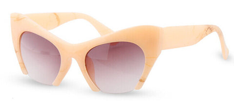 Retro Cat Eye Half Frame Sunglasses Peach Pink Virtual Glam Shop