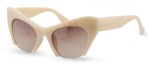Retro Cat Eye Half Frame Sunglasses Ivory Virtual Glam Shop