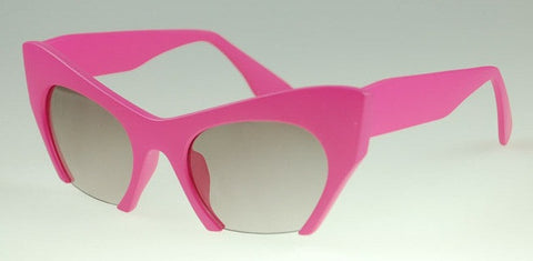 Retro Cat Eye Half Frame Sunglasses Hot Pink Virtual Glam Shop
