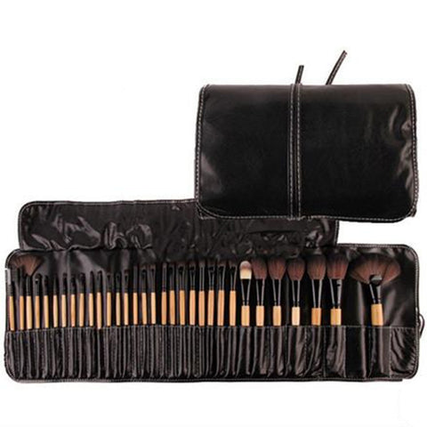 32Pcs Makeup Brush Set W/Travel Pouch Natural Wood Virtual Glam Shop