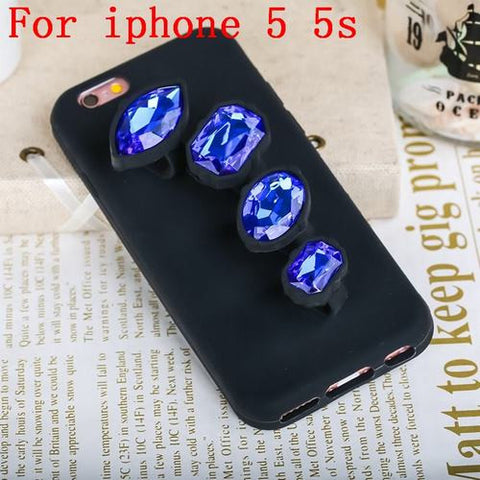 Image of Luxury 3D Crystal Diamond Ring Phone Case Safari Blue iphone 5s Virtual Glam Shop