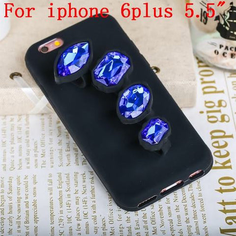 Luxury 3D Crystal Diamond Ring Phone Case Safari Blue iphone 6plus Virtual Glam Shop
