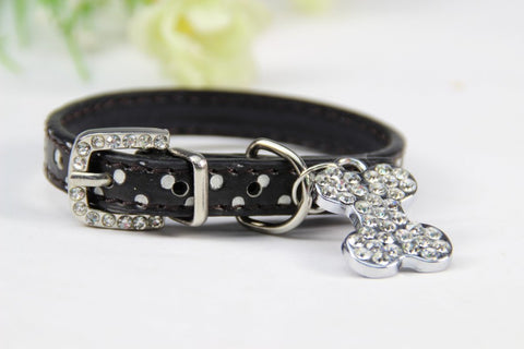 Image of Bone Bling Dog Collar Black / XS Virtual Glam Shop