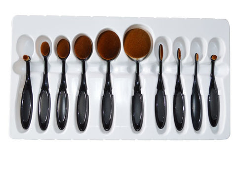 10Pcs Oval Shape Makeup Brush Set Black Virtual Glam Shop