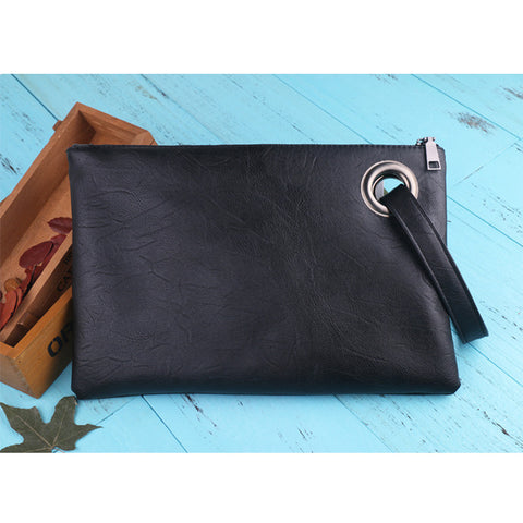 Image of Leather Grommet Envelope Clutch Black Virtual Glam Shop