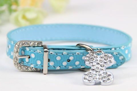 Image of Bone Bling Dog Collar Blue / XS Virtual Glam Shop