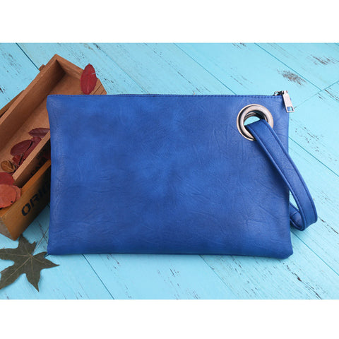 Image of Leather Grommet Envelope Clutch Blue Virtual Glam Shop