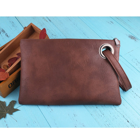 Image of Leather Grommet Envelope Clutch Brown Virtual Glam Shop