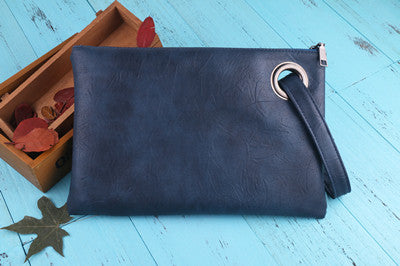 Leather Grommet Envelope Clutch Deep Blue Virtual Glam Shop