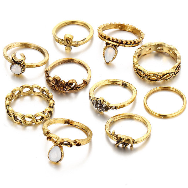 10pcs/Set Midi Ring Sets Gold Virtual Glam Shop