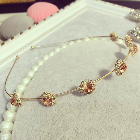 Image of Flower Crystal Headband Golden Champagne Virtual Glam Shop