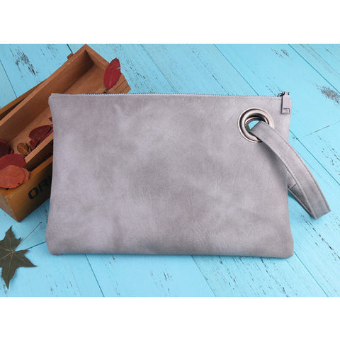Image of Leather Grommet Envelope Clutch Gray Virtual Glam Shop