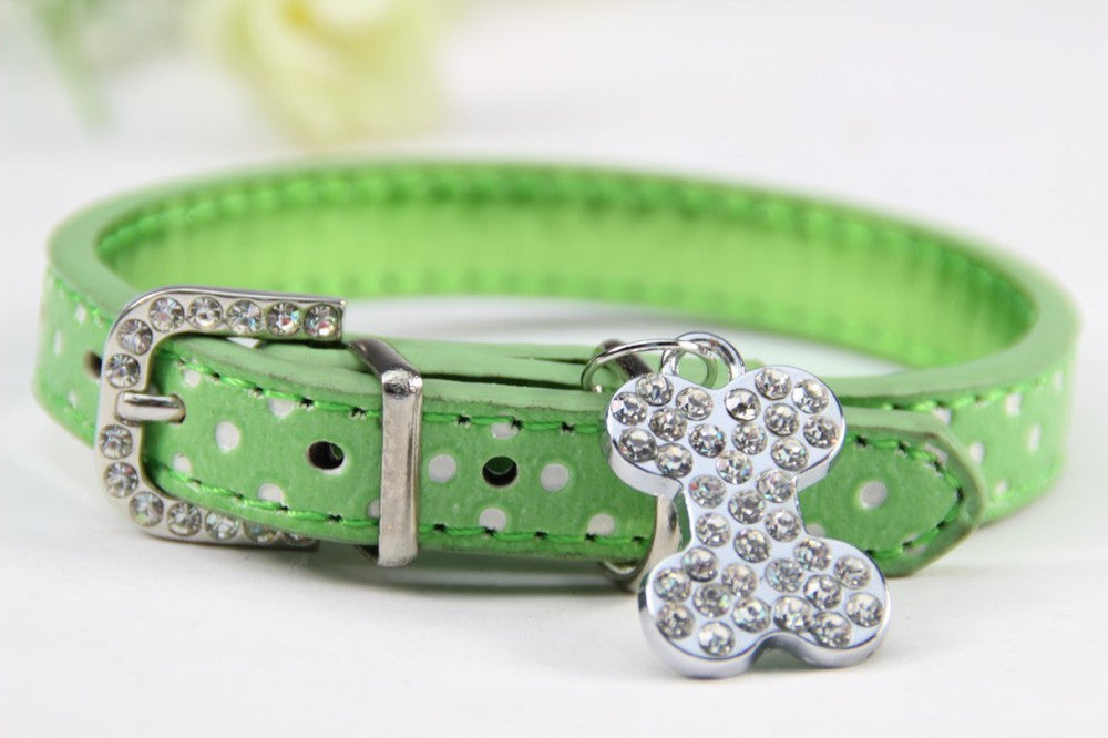 Bone Bling Dog Collar Green / XS Virtual Glam Shop