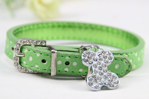 Image of Bone Bling Dog Collar Green / XS Virtual Glam Shop