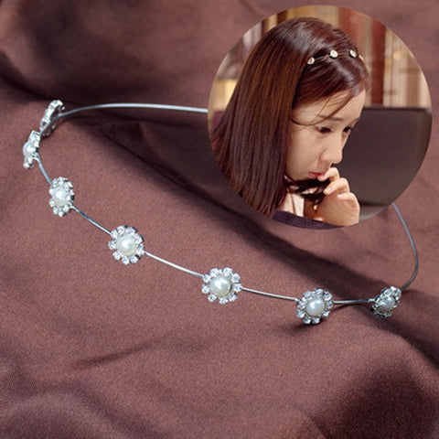 Image of Flower Crystal Headband Pearl Sunflower Virtual Glam Shop