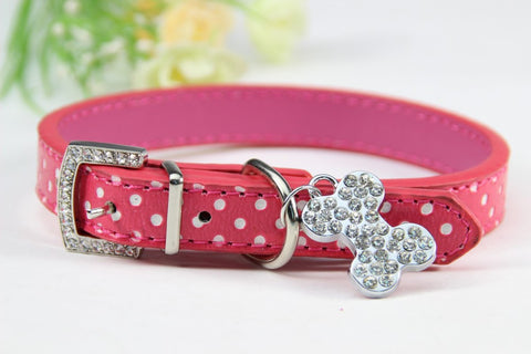 Image of Bone Bling Dog Collar Pink / XS Virtual Glam Shop