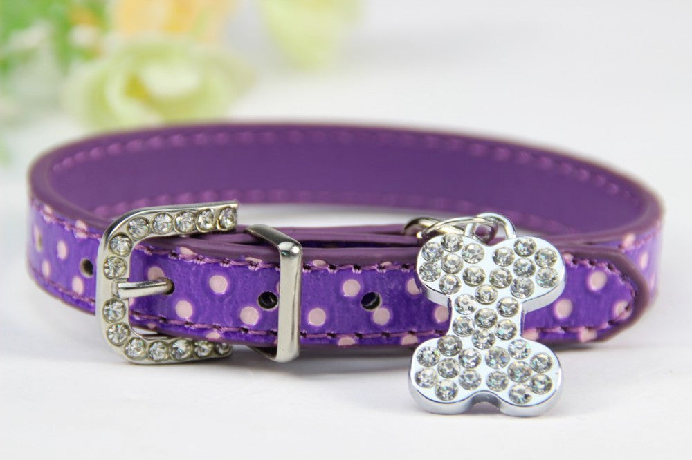 Bone Bling Dog Collar Purple / XS Virtual Glam Shop