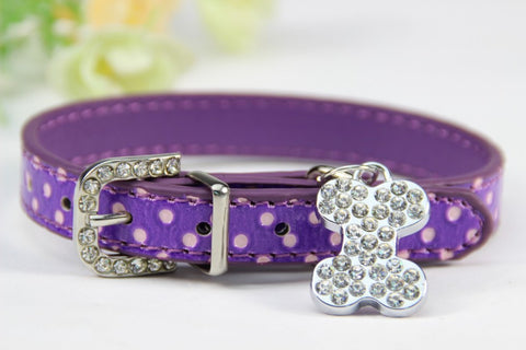 Image of Bone Bling Dog Collar Purple / XS Virtual Glam Shop