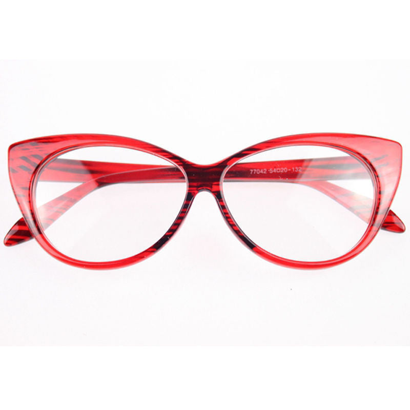 Clear Cat Eye Glam Fashion Eyewear Red Striped Virtual Glam Shop