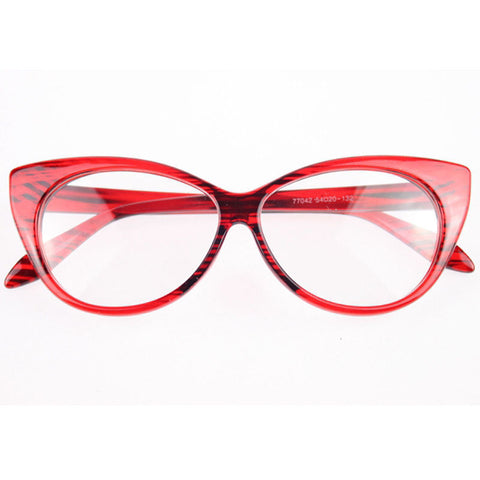 Image of Clear Cat Eye Glam Fashion Eyewear Red Striped Virtual Glam Shop