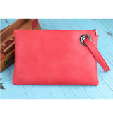 Leather Grommet Envelope Clutch Red Virtual Glam Shop