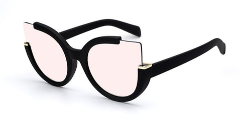 Image of Open Cat Eye Glasses Rubber black w pink Virtual Glam Shop