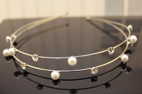 Crystals & Pearls Headband Silver Virtual Glam Shop