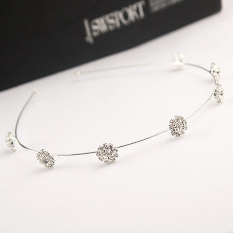 Image of Flower Crystal Headband Silvery White Virtual Glam Shop
